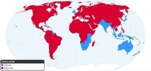 Mappa dei Paesi con… guida a sinistra