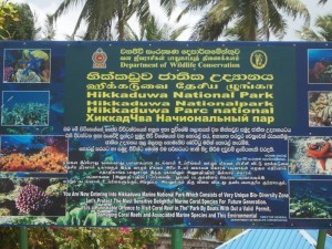 Cartello del Hikkaduwa National Park, Sri Lanka