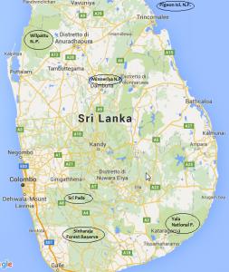 Mappa National Park e Reserve Sri Lanka