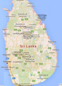 Mappa attrazioni Sri Lanka