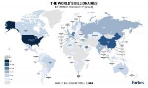 Mappa dei Paesi con… più miliardari