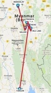 Seconda mappa viaggio in Myanmar