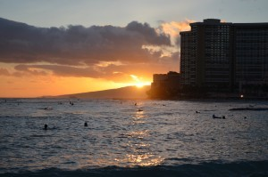 Sunset in Waikiki Beach (Oahu Hawaii)