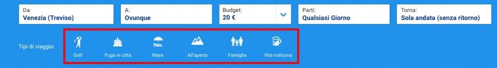 Offerte Ryanair - tipologia viaggio